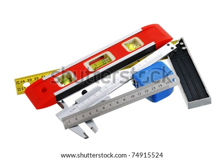 Set of measuring tools including rule, tape measure, vernier caliper, bubble level and carpenter square