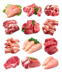 Set of meat closeup on white backgrounds.