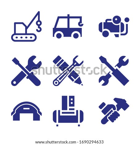 Set of 9 mechanic filled icons such as compressor, crane, maintenance, hammering, wrench and screwdriver crossed, hangar, tools