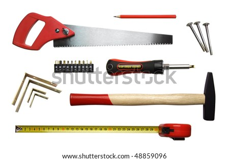 Set of mechanical woodworking tools isolated on the white background.