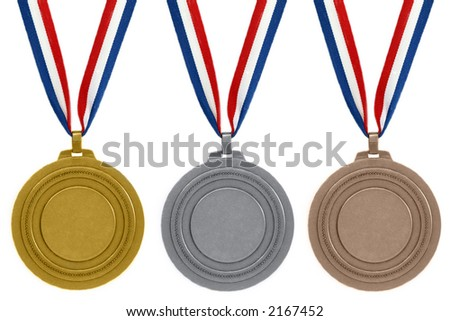 Set of medals on white background