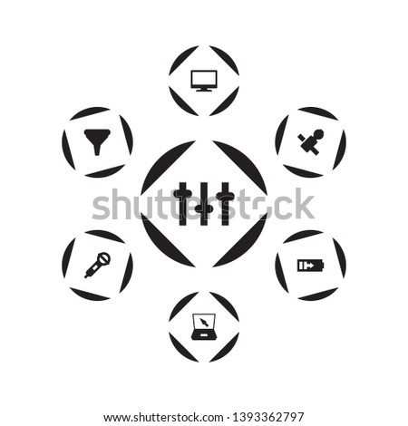 Set of 7 media icons set. Collection of charging, laptop, sputnik and other elements.