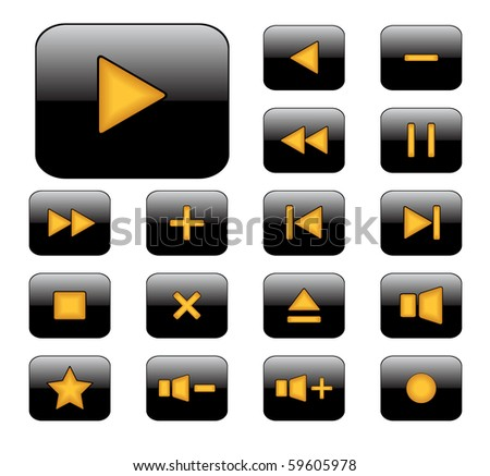 Set of media player buttons. Raster.