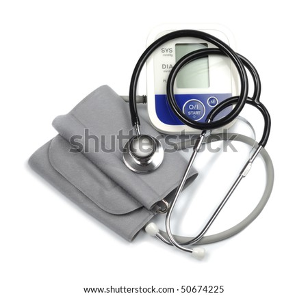 Set of medic tools stethoscope sphygmomanometer  isolated over white background