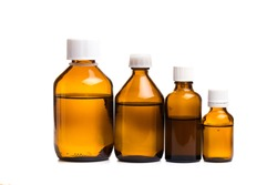 set of Medical glass bottles on a white background - Image