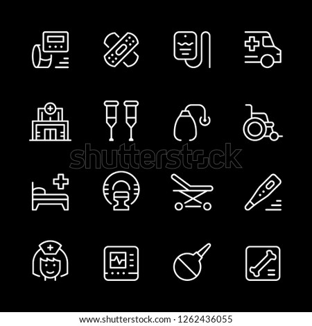 Set of medical icons isolated on black