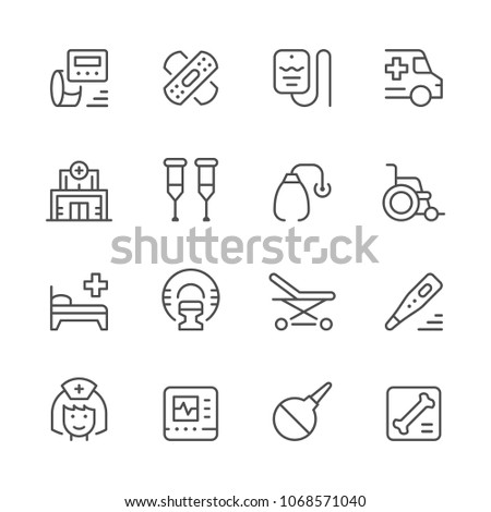 Set of medical icons isolated on white