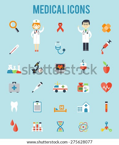 Set of medical icons. Stethoscope and blood, ambulance and clinic, microscope and syringe