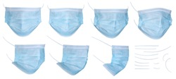 Set of medical mask or surgical ear loop mask isolated on white background with clipping path. Medical mask isolated on white background. Surgical mask, template for design, high resolution, close up.