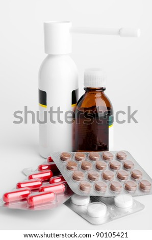 Set of medical medicines on the white
