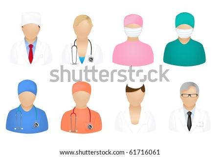 Set Of Medical People Icons, Isolated On White