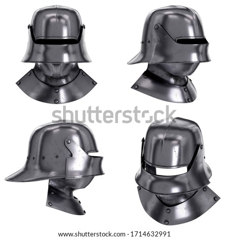 Set of Medieval Knight Sallet Helmet with Visor and Gorget. Helmet and iron collar for protect of neck. Ancient equipment for battlefields. 3D render Illustration Isolated on white background. Stock photo ©