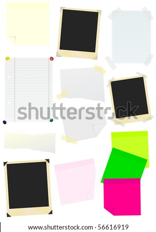 Set of Memo Sticks, School Papers and Photo Frames