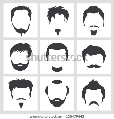 Set of men's hair and facial hair graphic designs