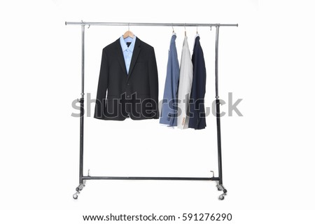 Shutterstock Set of men's suits hanging-white background