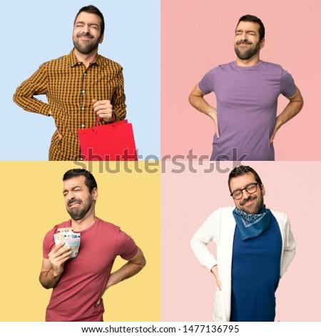 Set of men suffering from backache for having made an effort