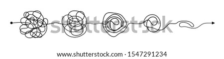 Set of messy clew symbols connected between them line of symbols with scribbled round element, concept of transition from complicated to simple, isolated on white background. ストックフォト ©