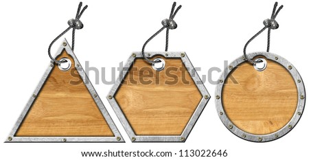 Set of Metal and Wood Tags - 3 Items / Three wooden and metallic empty tags with steel cable - stock photo