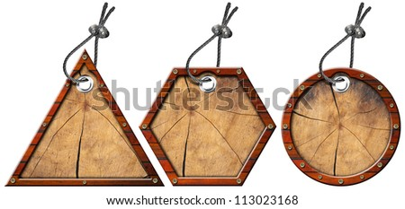 Set of Metal and Wood Tags - 3 Items / Three wooden and metallic empty tags with steel cable