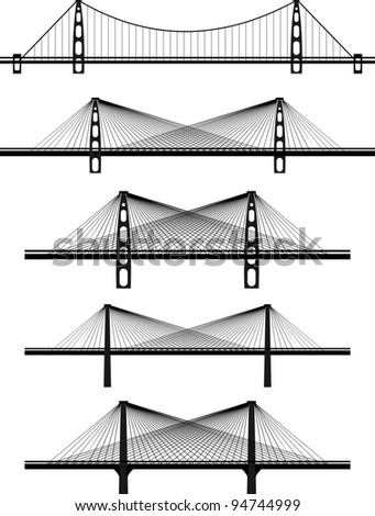 Set of metal cable suspension bridges - black illustrations, silhouettes, white background
