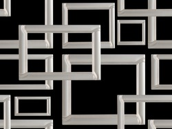 Set of metal or silver frmes. Seamless pattern, modern decor frame, isolated on black. Mock-up, minimal frame, tracery weave