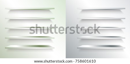 Set of Metal or Steel Shelves Raster Isolated on the Wall Background #758601610