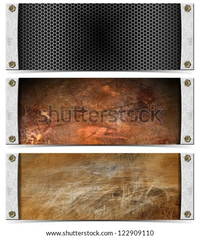 Set of Metallic Headers / Three horizontal grunge metallic banners or headers with bolts and shadow