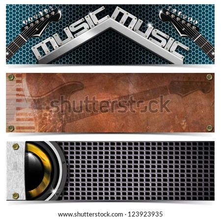 Set of Metallic Music Headers / Three horizontal grunge music banners or headers with guitar, piano and woofer