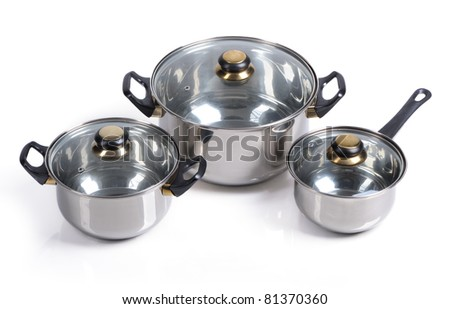 Set of metallic pan on isolated on white background
