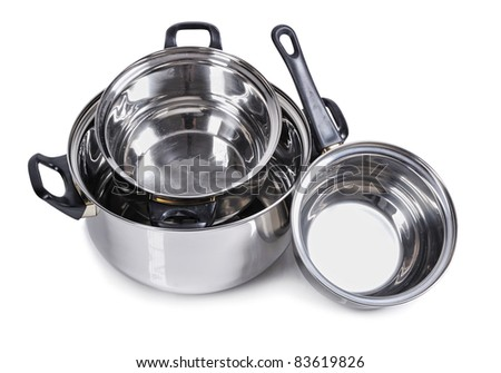 Set of metallic silver pan isolated on white