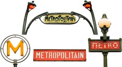Set of metro signs in Paris, France. Isolated on white