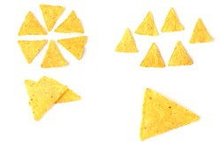 set of mexican nachos chips on a white background
