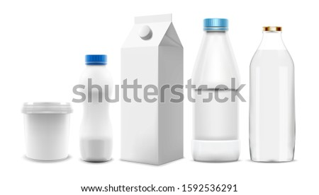 Set of Milk and yogurt packaging 3D templates. Collection of blank bottles and cartons that can be used as mock-up in product and marketing design. Speed up your workflow. Bitmap copy
