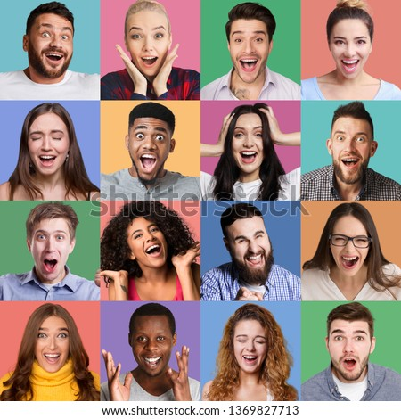 Set of millennials emotional portraits. Young diverse people grimacing and gesturing at colorful studio backgrounds #1369827713
