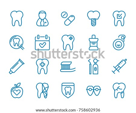 Set of Minimal Dentist Dental Clinic Raster Line Icons. Perfect Pixel. Thin Stroke. 48x48.