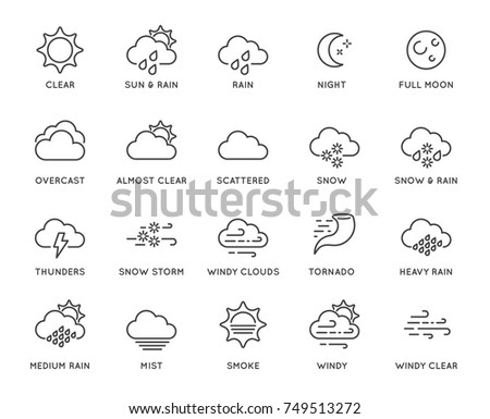 Set of Minimal Weather Related Raster Line Icons. Contains Icons like Wind, Blizzard, Sun, Rain and more. Stroke Style. Pixel Perfect.