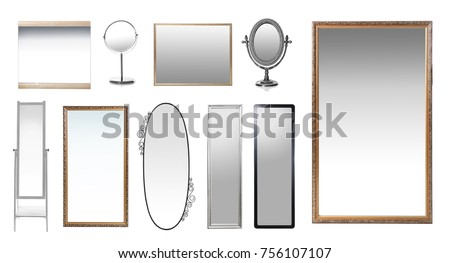 Set of mirrors on white background #756107107