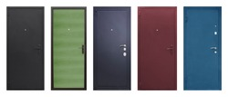 Set of models of entrance metal doors isolated on white background
