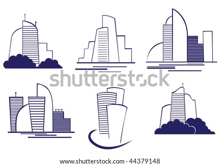 Set of modern building symbols for design or logo template. Vector version is also available