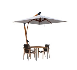 Set of modern chair and table with outdoor patio umbrella, isolate on white background