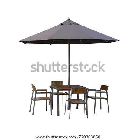 Set of modern chair and table with outdoor patio umbrella, isolate on white background #720303850