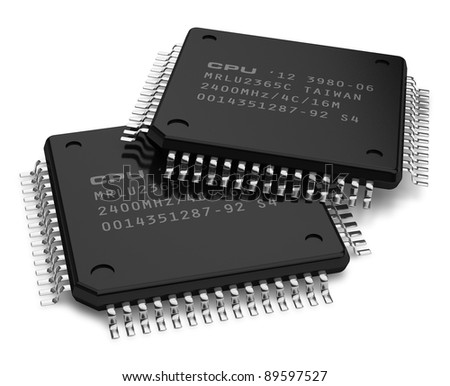 Set of modern computer microchips isolated on white background