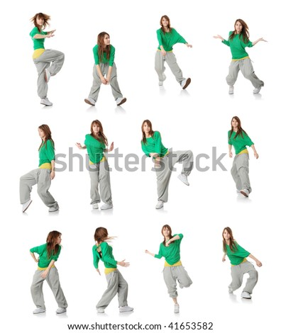 Set of modern dancer poses, isolated white background