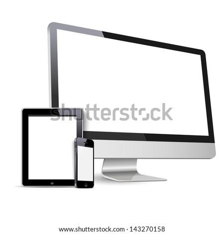 Set of Modern Digital devices.  Raster version