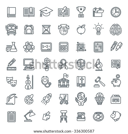 Set of modern flat line art icons of school subjects, activities, education and science symbols on white. Concepts for web site, mobile or computer apps, infographics, presentations, promotion