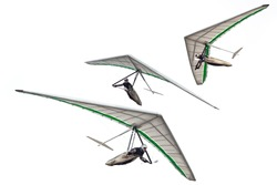 Set of modern hang glider wings isolated on white. Hangglider wing silhouettes