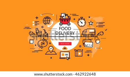 Set of modern illustration concepts of delivering grocery. Line flat design hero banners for websites and apps with call to action button, ready to use