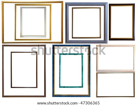 Set of  12 modern thin plastic picture frames, isolated with clipping path