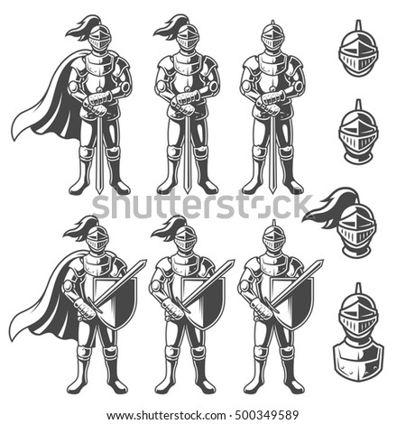 Stock Photo Set of monochrome knights in different poses on white background. Perfect for logo, emblem, label and badges design