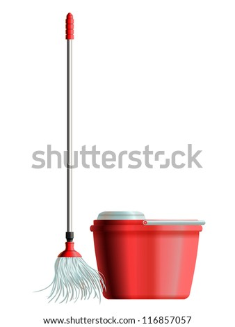 Set of mop with metal handle and red plastic bucket for house cleaning. Raster version of the vector image
